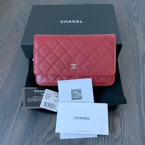 Chanel Classic WOC Raspberry Red Caviar Leather